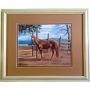 Joan Gurley, Original Acrylic Painting on Canvas, Signed by Artist, Beautiful Brown Horse By .