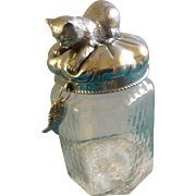 Arthur Court Good Kitty Cat Treat Glass Jar with Cast Aluminum Lid Discontinued