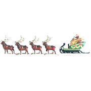 Dept 56 Heritage Village Collection Christmas - 5611-1 - Sleigh & Eight Tiny Reindeer Retired