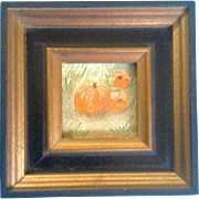 SOLD Postage Stamp Miniature Oil Painting on Canvas Board, Halloween Pumpkin Patch Very Small