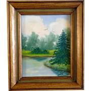 Small Oil Painting on Canvas Monogramed by Artist, Birds Flying Over Trees and Edge of ...