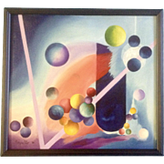 John Arguello, Modern Art, Geometric Study of Shapes, Circles, Lines and Spheres, Original Oil