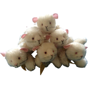 Annette Funicello #88271 Squeak Mouse, #7 Mice with Cheese Mohair Collar Set of 6 Adorable ...