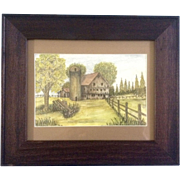 M. Romans, Watercolor Painting, Old Barn With Silo, Works on Paper, Signed by Artist