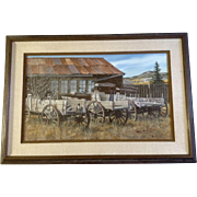 Charles Frizzell, Watercolor Photo Real Painting, Buck Board Wagons at the Old Homestead, ...