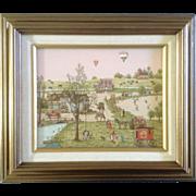 C. Carson, Serigraph, Folk Art, Balloon Little Busy Town at Old Town Mill, Fun Art ...