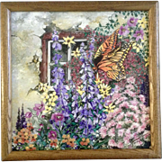 S. McMiller, Acrylic Painting, Monarch Butterfly in Wildflower Garden, Paint on Ceramic Tile,
