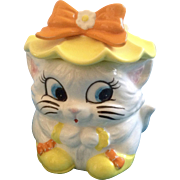 Lefton 1451 Cuddles Cat Anthropomorphic Sugar Bowl With Lid Ceramic Condiment Jar Japan