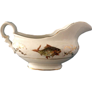 CPCo & Hobson Transferware Crown Gravy Boat Fish Pattern 1940's Vintage Fine China Pottery