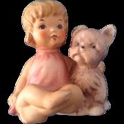 10-504-08 Goebel Hummel Girl with Puppy Dog (1972-1979) Small Bee Mark