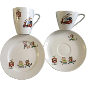 Noritake Nippon Toki Kaisha Children's Cup & Saucer Sets Japan Porcelain Tea set