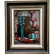 William V. Hatch Native American Turquoise Jewelry and Pottery Oil Painting on Canvas Realism