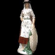Portugal Pottery Lady Figurine Stunning Fine Ceramic Porcelain Statue Vintage Piece
