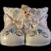 Napco Napcoware C6388 Baby Booties Planter Blue Flowers Figurine