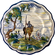 Talavera Don Quixote Riding a Horse, Majolica Hand Painted Pottery Plate 10-3/4 inches ...