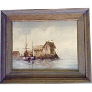 Lester Hughes, Oil Painting, Old Fishing shack with Fishing Boats, On Canvas Signed by Artist