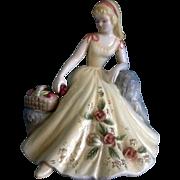 Josef Originals Yellow Dress Girl With Apples Japan Figurine
