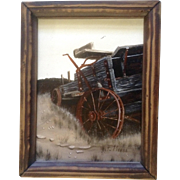 F Moore, Painting Broken Down Wagon, Acrylic Painted on Board Signed by Artist