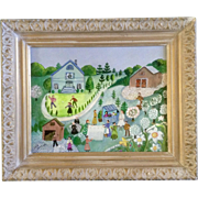 "Sheila Burns, Folk Art Painting ""Spring"" in the Village, Oil Painted on Canvas Board Signe"