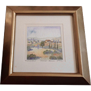Sinisa Milanov, Florence Tuscany Italy Hillside 1 Home, Watercolor Painting Signed by Artist,