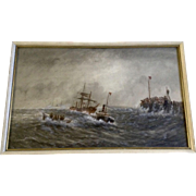 M E Adams Ship Watercolor Painting Rescuing a Sailing Ship Durring A Storm Works on ...