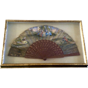 French Antique Hand Painted Silk Fan In Frame