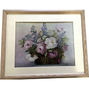 C.Woods, Porcelain Painting Wildflower Floral Flower Basket Hand Painted Signed by Artist