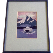 Ruth Leonard, Batik on Silk, Vehicle Ferry Crossing Chanel With Mt Rainier, Painting Signed by