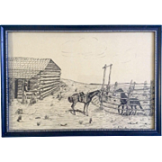 Donna Hill, Cowboys and Horses Resting at the Old Homestead, Original Pen and Ink Drawing ...