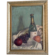 Kietz, Reve Champagne & Fruit, Still life Oil Painting on Canvas Board Signed by Artist