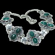 Vintage 925 Sterling Chrysoprase Scarab Necklace