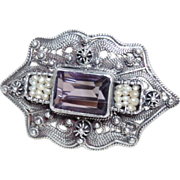 Antique Victorian Amethyst and Seed Pearl Brooch