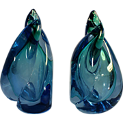 SOLD Blue Green Flame Bookends, Blown and Cased Glass