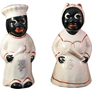 Vintage Black Americana Cooks Salt & Pepper Porcelain Shaker Set Hand painted