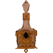 French Footed Gold Ormolu with Cherubs holding Onyx Medallions Glass Perfume Bottle