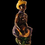 Rare Drioli Liquor Decanter Black Americana Seated Drum Bongo Player 1960's Hand painted made
