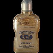 1924 Golden Wedding Full Pint Whiskey Carnival Glass Bottle - Original Labeling and Cover