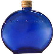 Rare Vintage Bourjois Round Perfume Bottle Cobalt Blue with Silver Top - Raised Lettering