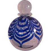 Vintage Studio Art Glass Cobalt Blue and Clear Glass Perfume Bottle