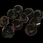 10 Victorian Jet Black Swirl Design Costume Charm Buttons w Brass Loop shank