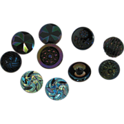 10 Mixed Aurora Lustre Black Glass Victorian Buttons