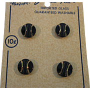 8 Vintage Glass Navy and Gold Buttons made in Western Germany on Cards