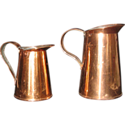 "SOLD 2 Vintage Copper Pitchers 4 1/2"" & 6 1/2"" - Red Tag Sale Item"