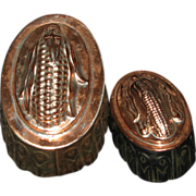2 Vintage Copper Deep Pudding Molds - Corn Cob Tops