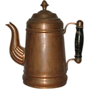 SOLD Vintage Copper Coffee Pot with Wood handle