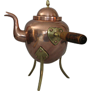 Rare 19th Century Side Handled Copper and Brass footed Teapot with Wooden Handle