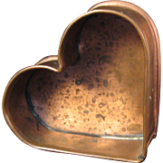 "Michael Bonne 1991 Copper Heart Mold with Wall Hook - Signed and inscribed ""Your hearts d"