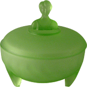Art Deco Green Frosted Glass 3 footed powder dish with Ladies Bust on Top of ...