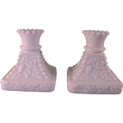 "2 Westmoreland White Milk Hobnail Grape Glass Candle Stick Holders 4"" Tall Sq. Base"