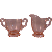 Elegant and Fancy Pink Cambridge Glass Cream and Sugar Bowl in the 3400 Pattern Unetched ...